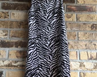 Vintage Velvet Zebra Print Mini Dress - 80s Rocker