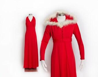 Vintage 70s Dress - Red Marabou Maxi Holiday Full Length Dress & Bolero Set - Small