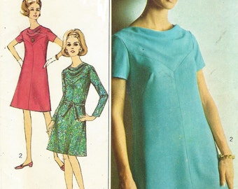 1960s Designer Fashion Womens Cowl Neckline Dress Simplicity Sewing Pattern 7267 Size 14 Bust 35 Vintage Sewing Patterns