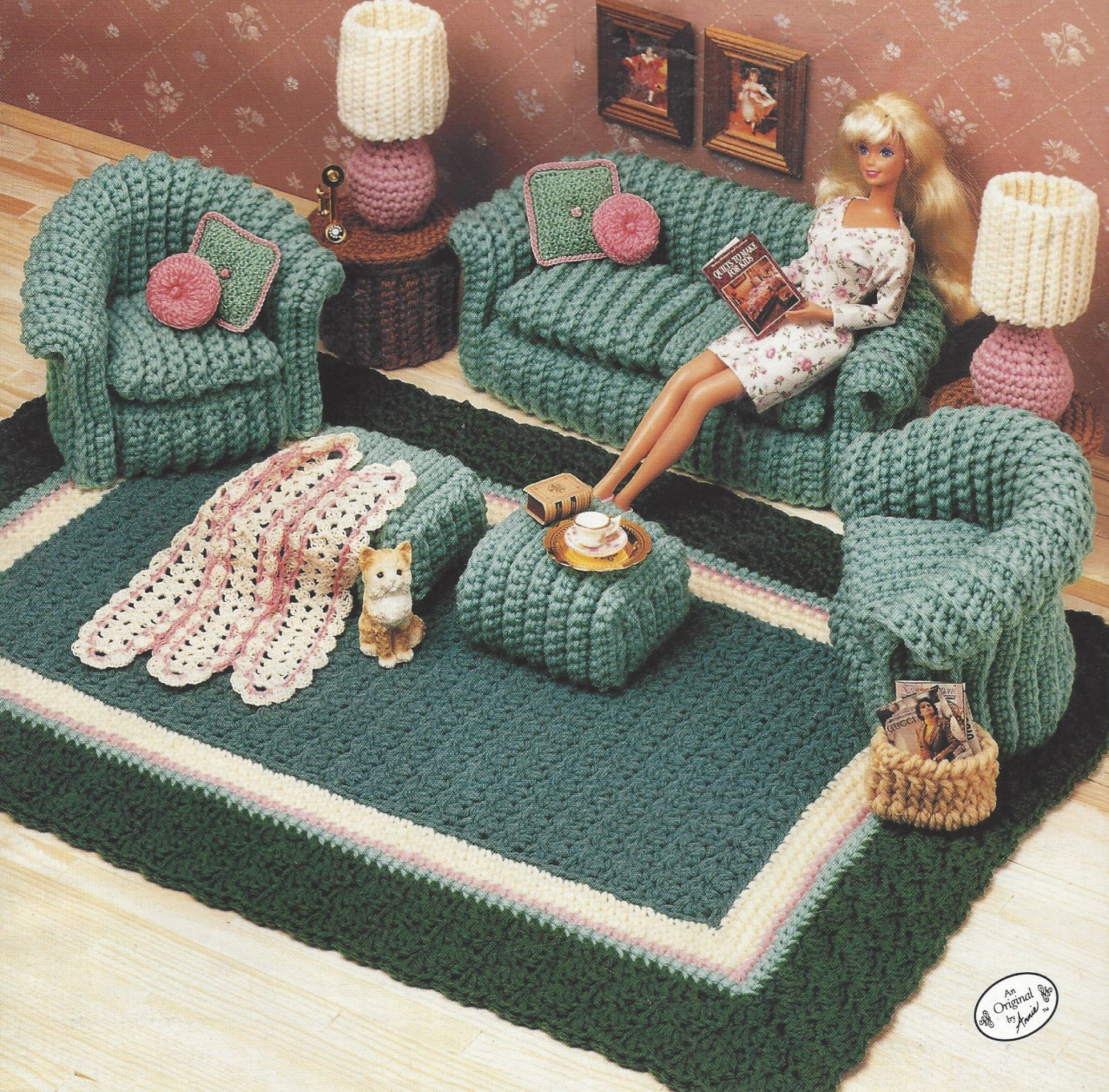 90s Classic Living Room Crochet Doll Furniture for Barbie and Doll