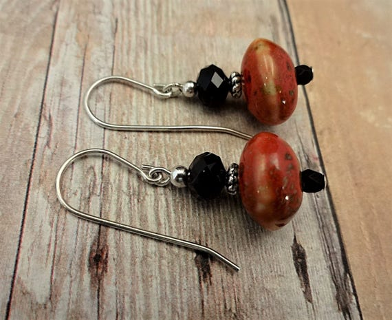 Black and Red Ceramic Earrings