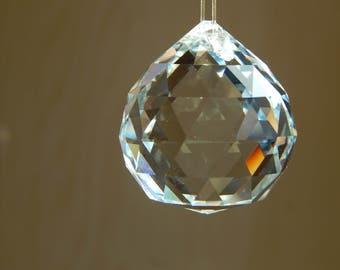 Large Round Crystal Prism, Crystal Sun catcher, Hanging Prism, Large Prism, Rainbow Maker, Feng Shui, Nursery Decor, Meditation