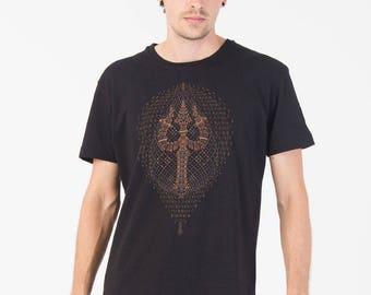 Mens T Shirt screenprint tshirt, psychedelic clothing, graphic tee, black t-shirt, psychedelic shirt, SOL