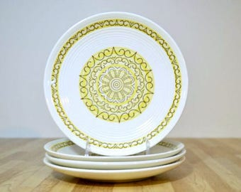 Midcentury Sierra Bread and Butter Plates Max Schonfeld Design Ironstone Dishwasher Safe Yellow Brown Scroll Ribbed Pattern: Set of 4
