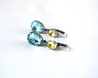 Light Blue and Yellow Rhinestone Earrings, Yellow and Blue Earring, Aquamarine and Citrine Crystal Jewelry, Sky Blue Yellow, Crystal Earring