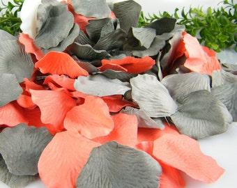 200 Coral Grey Wedding Decoration Artificial Silk Petals Deep Gray Flower Tossing