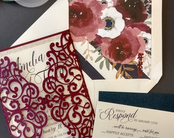Laser Cut Wedding Invitation Package Burgundy Navy Gold Glitter Anemone Florals Invitation Response Card DEPOSIT or SAMPLE Custom Colors