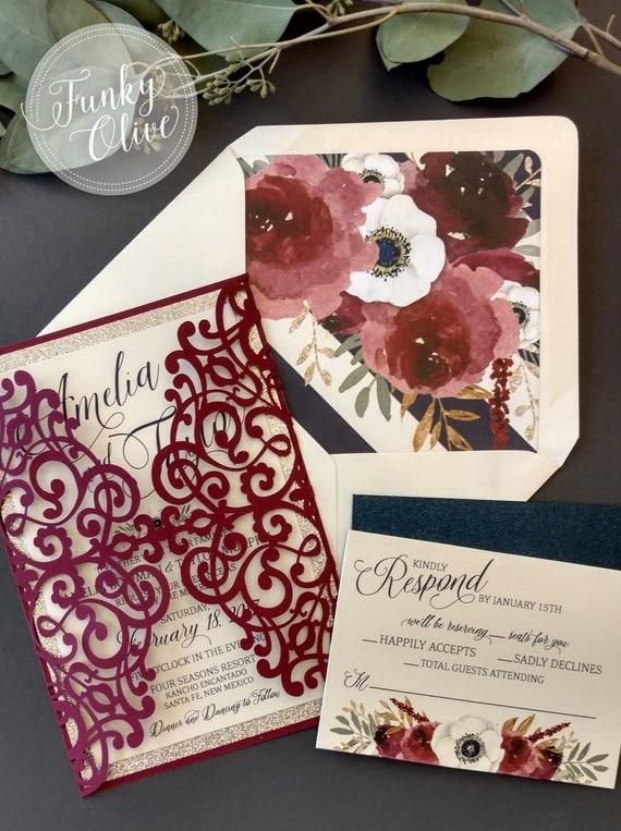 Laser Cut Wedding Invitation Package Burgundy Navy