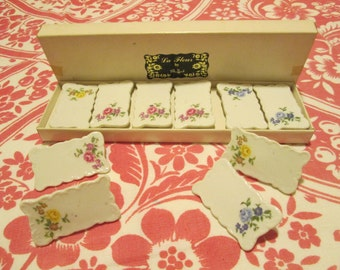 Vintage Porcelain Name Place Cards 10 / La Fleur By Shafford In Box / Floral Place Cards
