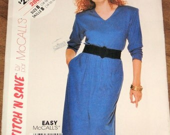 McCall's Stitch n Save 2808 Pullover Dress, Women's Misses Vintage 1980s Easy Sewing Pattern Size 14 16 18 Bust 36 38 40 Uncut Factory Folds