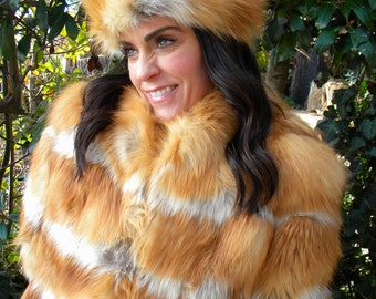 Bright bold Red and Gray fox fur coat  / jacket and hat