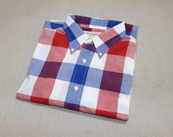 vintage 1980's -Creighton- Men's button down short sleeve shirt. Buffalo style plaid - Red, White, & Blue. Possibly 'New Old Stock''. Large