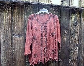 Boho emblished cotton shirt tunic