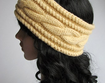 Cable Braided Headband, Hand Knitted Head Wrap, Boho Knit Hairband, Winter Ear Cover, Earwarmer - 100% Natural Wool