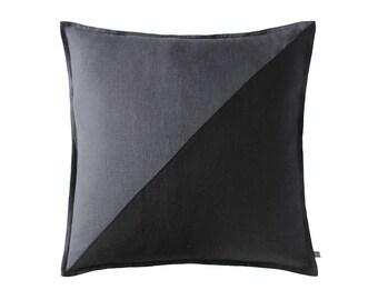 Color block pillow, Linen pillow cover Black decorative pillow, Charcoal grey decorative cushion, Geometric accent pillow, Throw pillow SALE