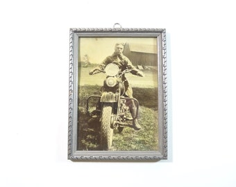 Vintage Framed Photo / 1930s Man on Motorcycle Photograph in Frame / Wall Decor