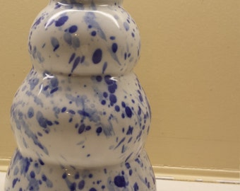 Bubbly blue and white speckled vase, handmade pottery vase, pottery bottle, unique pottery vase,
