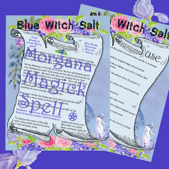BLUE WITCH SALT - Protection & Healing, Digital Download, Book of Shadows, Scrapbook,  Wicca, Pagan, Witchcraft, White Magick, Magick Spell