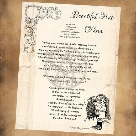 BEAUTIFUL HAIR CHARM Spell, Digital Download, Book of Shadows Page, Grimoire,  Wicca, Pagan, Witchcraft, White Magick, Magick Spell