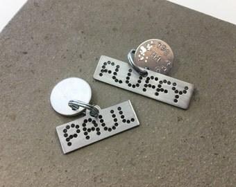 Unique pet ID tag personalized bright silver steel noble design
