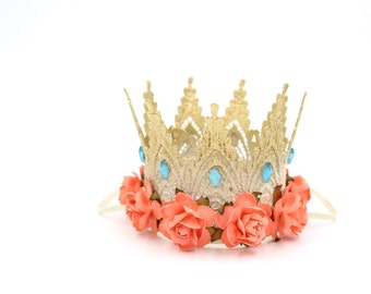 Moana inspired lace crown    mini Harlow    photography prop    Hawaiian Princess