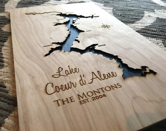 Family Name Lake Coeur D'Alene 3-D Lake Sign - CDA Idaho Handmade Custom with Cities, Compass and Lake Name Engraved - North Idaho Made