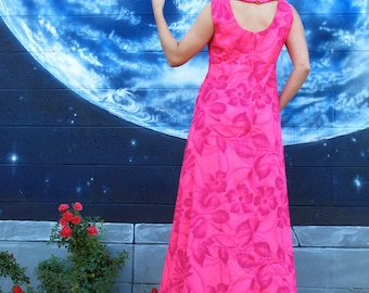 1960s cut out DRESS floral hawaiian bright maxi tank spiral fitted bodybon hot pink pinup vintage made in Hawaii  // size M / L