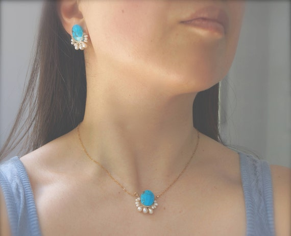 Turquoise cluster studs earrings