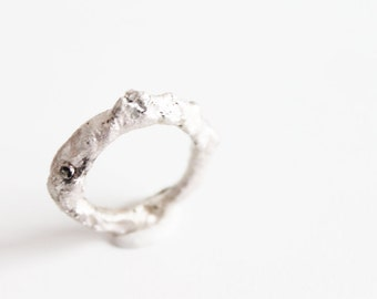 Raw ring, Silver white ring, Unique silver rings, Modern silver ring, Contemporary jewelry, Satement ring, Unique rings, Organic rings,