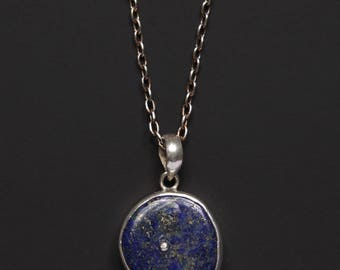 Lapis Lazuli Necklace for men - Silver chain - Blue lapis silver pendant for Men - Gift for Husband, Gift for Father, Gift for Boyfriend