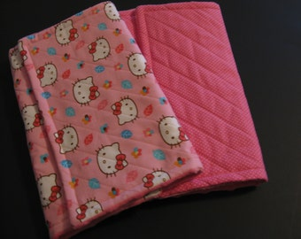 Burp Cloth Set Minky - Kitty - Baby Girl Gift- Shower Gift- Super Absorbent
