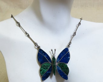 950 Silver, Malachite, Sodalite Big Butterfly Necklace, Vintage, 21 Inch Chain