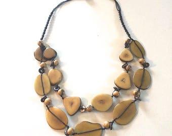 Tagua Nut Necklace/ Vegetable Ivory/ Bib Necklace/ boho/ bohemian/ tribal/