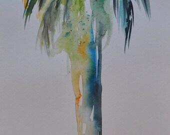 Large Palm Tree California Palm Original Watercolor Painting, coastal art beach painting