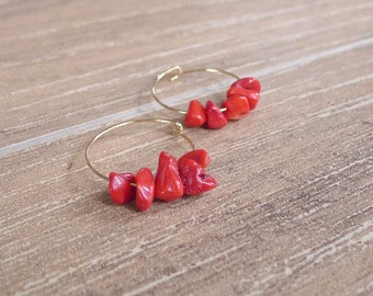 Full Circle - Gold Hoop Earrings with Red Quartz Beads (No. 4)