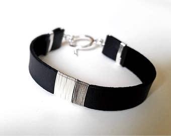 Sterling SILVER & Black LEATHER BRACELET—Custom Size Unisex Cuff Wristband 2 Stripes [Bracelet Argent Cuir Noir — Pulsera Plata Piel Negra]