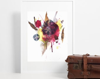 Rustic Watercolor Art Print / Abstract Autumn Leaves in Red Yellow Brown / Modern Farmhouse Decor