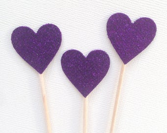 Purple Glitter Heart Cupcake Toppers, Sofia the First, Princess Party Decor, Double-Sided, Weddings, Showers, Set of 15