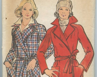 1970's Butterick 3914 Misses' Raglan Sleeved Lined Wrap Jacket with Notched Collar, Patch Pockets and Self Tie Belt Bust 38