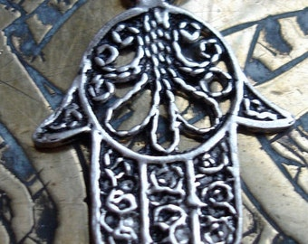 Silver (tested) filigree Moroccan small  tarnished Hand pendant