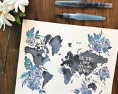 Overcome The World - John 16:33 Floral Map Print - Hand lettered, watercolor, scripture, encouragement, perfect for wall art, home decor