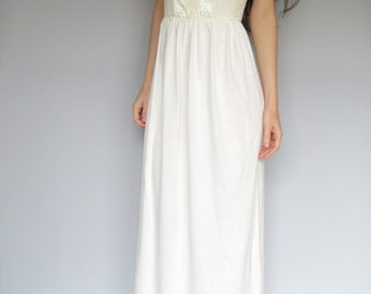fairytale - ivory organic cotton bamboo paired with vintage 1970's floral lace bohemian chic hippie wedding maxi dress xs B Cup