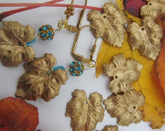 Vintage Detailed Patina  Brass Leaves
