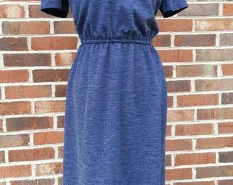 Vintage 1980s Toni Todd Dress Blue With White Piping Retro Preppy Spring Summer Medium Large M L Boho Secretary Chic New Wave
