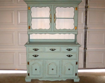 Charming Vintage Sideboard Hutch - Shabby Chic Breakfront - Up Cycled in Robin's Egg Blue & Distressed
