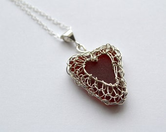 Red Genuine Sea Glass Hand Knitted Silver Wire Heart Pendant with 20 inch chain Seaglass from Greece