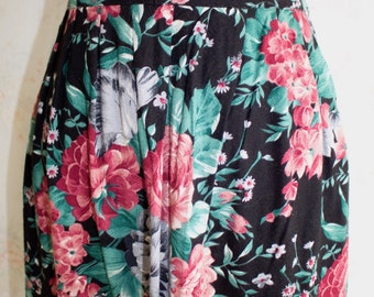 Vintage 80s Floral Skirt, 1980s Flower Print Skirt, Midi, High Waisted, Rose, Boho