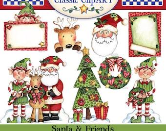 Christmas Digital Art, Santa clipart, Christmas clipart, printables, papercrafts, Laurie Furnell, Reindeer clipart, Elf clipart Elf graphics