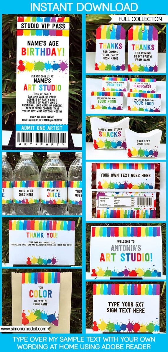 Art Party Printables, Invitations & Decorations - Art Theme Party ...