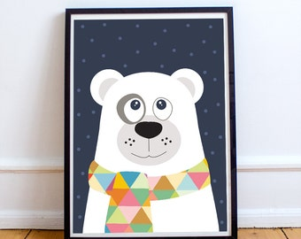 Polar bear with geometric scarf,  baby nursery decor, baby boy, animal prints,baby room decor, kids art print, kids wall Art, children decor
